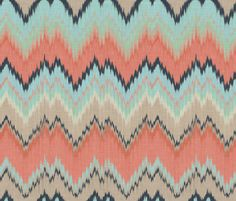 Custom Ikat Chevron fabric by sparrowsong on Spoonflower - custom fabric  (Shades of coral, aqua, navy, khaki, and a bit of mint. The other one pinned has more mint and no aqua..but similar)