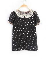 Black Polka Dot Lace Lapel Short Sleeve Chiffon Shirt $33.00