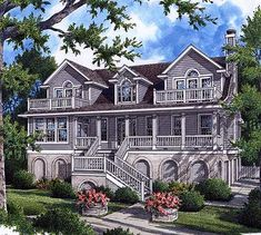 Really nice plan. Really 3 stories with garage on lowest level. Lots of balconies. Lots of storage.