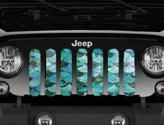 """Sea Foam Mermaid Scales"" Grille Insert - Wrangler 1976 - 2018 – Jeep World Accessoires De Jeep Wrangler, Accessoires Jeep, Jeep Wrangler Accessories, Jeep Accessories, Jeep Cherokee Accessories, Green Jeep, Pink Jeep, Jeep Wrangler Tj, Jeep Wrangler Interior"