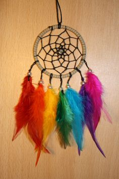 Suede dream catcher with rainbow feathers, black web, pearl bead finish 7cm dreamcatcher handmade red orange yellow green blue indigo violet