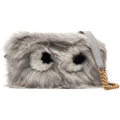 Anya Hindmarch Eyes mini shearling and leather shoulder bag ($1,385) via Polyvore featuring bags, handbags, shoulder bags, light gray, mini leather handbags, genuine leather purse, zip shoulder bag, genuine leather handbags and real leather purses