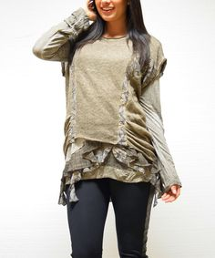 Look at this Simply Couture Taupe Ruffle Sidetail Tunic on #zulily today!