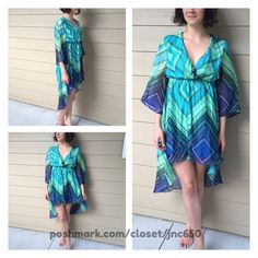 """*Blue/ green dress Green/ blue dress. Lightweight and partially lined. High/ low style. 60% cotton/ 40% polyester.  Small: 32"""" front and 42"""" back/ 34"""" bust Medium: 33"""" front and 43"""" back/ 36"""" bust Large: 34"""" front and 45"""" back/ 38"""" bust Availability- S•M•L • 2•2•1.                                          ⭐️This item is brand new with manufacturers tags, boutique tags, or in original packaging. 🚫NO TRADES 💲Price is firm unless bundled 💰Ask about bundle discounts Dresses High Low"""