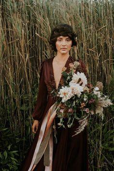 Ribboned moody bridal bouquet   Allison Markova Photography