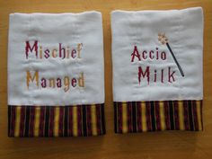 Set of 2 -Harry Potter themed machine embroidered burp cloth on Etsy, $19.00