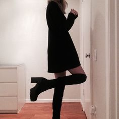 Black platform over the knee boots The size on these says 38/5 but I'm a 7.5 and they fit perfect. Made in Italy. Soft faux suede material. Shoes Over the Knee Boots