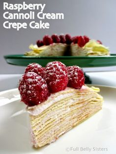 Full Belly Sisters: Raspberry Cannoli Cream Crepe Cake with @driscollsberry