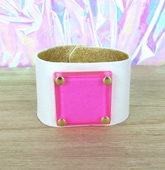 L E A T H E R & resin cuff // pink by Blydesign on Etsy, $110.00