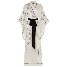 Carine Gilson Long Silk Kimono Robe (4.880 BRL) ❤ liked on Polyvore featuring intimates, robes, dresses, underwear, robe, full length robe, long kimono robe, long kimono, waist belt and dressing gown