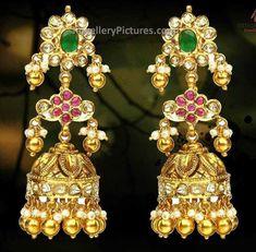 Pachi jhumka Sets by Hiya Jewellers - Jewellery Designs Gold Jhumka Earrings, Gold Earrings Designs, Gold Jewellery Design, Gold Designs, Ear Jewelry, Bead Jewellery, Temple Jewellery, Quartz Jewelry, Latest Jewellery