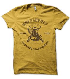 HufflePuff  Quidditch Blind Side Beater Shirt, Harry t-shirt potter wizard inspired. $12.95, via Etsy.