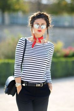 Red bandana adds a dash of flair to this timeless look.