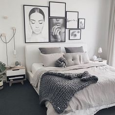 The hanging bulb, the picture frames, the knot pillow... love everything about it
