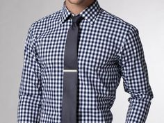 Navy checked shirt, navy tie. #men #style #fashion