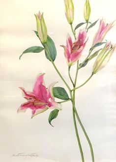 """Title : """"Lilies and i"""" By : Phatcharaphan Chanthep Techniques : Watercolor on paper Size : 45 x 60 cm. Painting type: Original"""