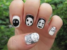 Hayao Miyazaki Studio Ghibli: Totoro, No-Face, Kodama and Soot sprite nail art - YouTube