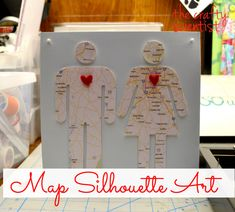 The Crafty Scientist: Couple Map Silhouette Art