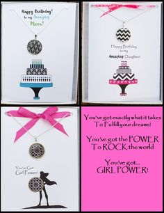 This site has super unique greeting cards and each card has a matching necklace so you've got your gift too. Happy Birthday Greeting Card, Birthday Wishes, Birthday Cards, Card Ideas, Gift Ideas, Bettering Myself, Matching Necklaces, Regional, Girl Power
