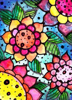 4 flowers---Robin Mead-Love Her Art!