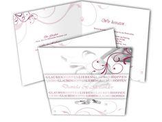 Hochzeitseinladung - Rosenglück & Ringe - Weinrot mit weißen Rosen.