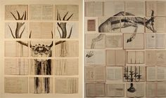 Russian artist Ekaterina Panikanova places old books and other documents together and paints over them to create the most beautiful installations. Below are some pieces from her exhibition Un, due, tre, fuoco in Rome earlier this year. Book Bar, Installation Art, Art Installations, Gcse Art, Book Images, Illustrations And Posters, Geometric Art, Art Photography, Fashion Photography