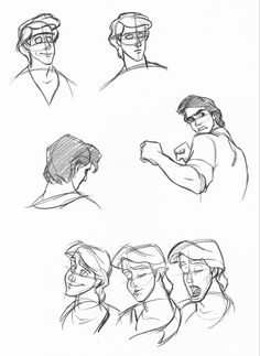 Character sketches from the Little Mermaid Disney Concept Art, Disney Fan Art, Princesses Disney Punk, Princess Disney, Princess Jasmine, Animation Disney, Prince Eric, Film D'animation, Adventures By Disney