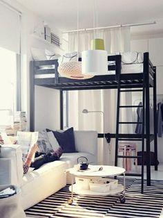 Jugendzimmer gestalten – 100 faszinierende Ideen - jugendzimmer design  ideen stockbett schwarz gestreifter teppich
