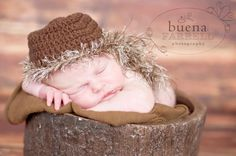 Newborn photo prop. Daniel Boone hat.  Available on Prop Insanity.