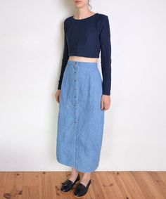 90's denim midi skirt buttoned up high waisted by WoodhouseStudios