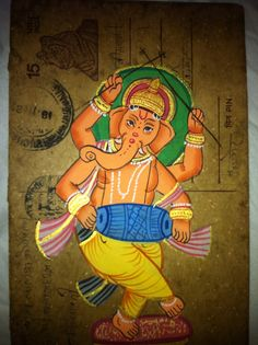 Indian hand painted postcards. I recently found out that this is one of the indians Gods. his name is Ganesh