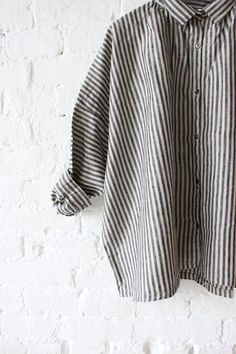 Ichi Antiquites Gather Linen Shirt Stripes