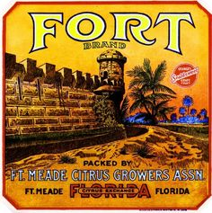 $9.59 - Fort Ft. Meade Florida Fort Orange Citrus Fruit Crate Label Art Print #ebay #Collectibles Vintage Labels, Vintage Postcards, Vintage Ads, Vintage Florida, Old Florida, Retro Ads, Vintage Advertisements, Orange Crate Labels, Label Art