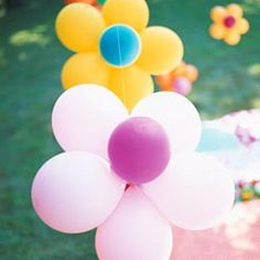 Kids' Birthday Party Ideas - Kids' Birthday Party Ideas Flower Power Party – Bouncy and bright! Balloons and flowers are the theme for this backyard birthday party. Backyard Birthday, 1st Birthday Parties, Girl Birthday, Flower Birthday, Birthday Ideas, Birthday Balloons, Hippie Birthday Party, 14th Birthday, Outdoor Birthday