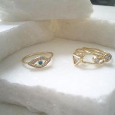 Stack on our Evil Eye Ring with our CZ Midi-Ring Set this Summer for a Chic and Stylish Look. #BlingJewelry