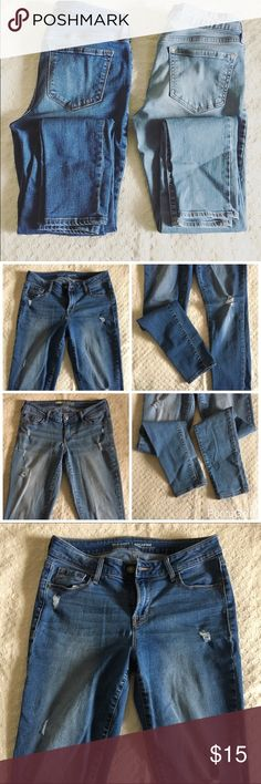 "Old navy rock star denim. Bundle of 2 old navy rock star denim. Skinny fit. Light wash: waist- 28"". Rise-7"". Inseam- 28"". Medium wash: waist-28"". Rise- Mid-rise, 9"". Inseam-28"". EUC. Old Navy Jeans Skinny"