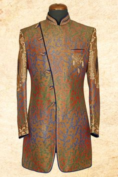 #Orange multicolor noble #jute silk sherwani with bandhgala-IW602