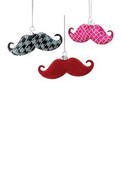 "4"" Glass Noble Gems Patterned Mustache Ornaments - 12-Piece Set"
