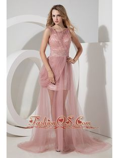 Light Pink Column Straps Celebrity Dress Tulle Beading Brush Train  www.fashionos.com   cheap celebrity dress around 150 | beaded floor length celebrity dress | 2013 popular celebrity dress for graduation | celebrity dress with zipper up closure in the side |