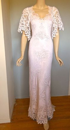 Antique LACE Crochet Wedding Dress Scalloped by MuseClothing, $312.00