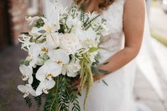 Oxford Floral Company Flower Design Wedding Plein AIre Danny K Photography Emily + Chris // Orchid and Hanging Amaranthis Bouquet