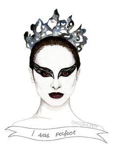 Black Swan Nina Sayers watercolour portrait PRINT by ohgoshCindy #etsy #art