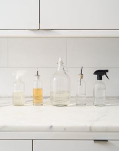 The line up—decanted household cleaning spray, hand soap, dishwashing detergent, liquid dish soap, and diluted vinegar. Photograph by Matthew Williams and styling by Alexa Hotz for The Organized Home: Simple, Stylish Storage Ideas for All Over the House.