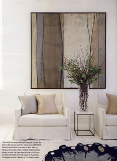 I like the colors, and the painting reminds me of the lg one I painted with roofing tar years ago. contemporary living room - white and pale earthy palette - artwork by Deborah Tarr