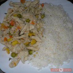 Zöldséges csirkemellcsíkok rizzsel Food, Essen, Yemek, Meals