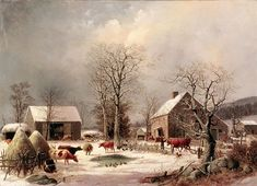 Farmyar in Winter - George Henry Durrie 1858