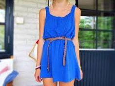 Blue short summer dress.