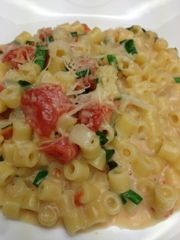 Eating Dinner With My Family: Creamy Pasta With Tomato Confit And Fresh Goat Cheese