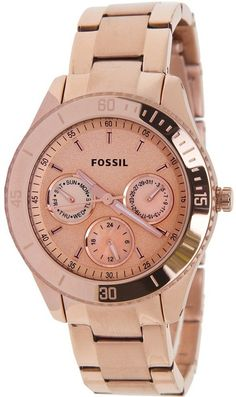 Fossil Watch , Fossil ES2859 Stella Plated Stainless Steel Watch - Rose
