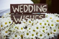 cute wedding wishes sign with dasies